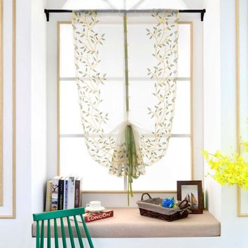 1 PCS Pastoral Tulle Window Roman Curtain Embroidered Sheer For Kitchen Living Room Bedroom Window Curtain Screening Flower
