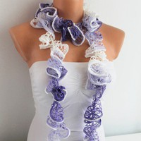 White Lavender Purple Flamenko Shades Funky Scarf | Missglory - Accessories on ArtFire