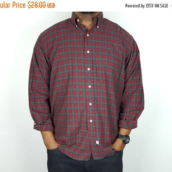 SALE L Vintage 90s Plaid Shirt Button Down Ralph Lauren Polo / Red and Green Oxford  Shirt/ Men's Button Down Shirt / 90s Oversized Plaid Sh