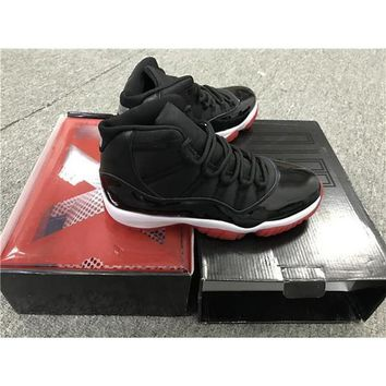 2017 Air Jordan Retro 11 Basketball Shoes Black Red Bred Men Sneakers Shoes High Quality Not Real Carbon Fiber With Original Box  - Beauty Ticksus 7-12