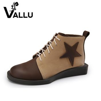2017 VALLU Women Ankle Boots Genuine Leather Lace Up Mixed Color Women Shoes Flat Boots