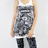 OASIS Britpop Alternative Punk Hard Rock Music Shirt White Shirt Tank Top Women Sleeveless Tunic Tank Singlet Vest Women Rock Shirt Size S M
