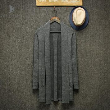 Zeeshant Spring Autumn Fashion Brand Men's Pure Color Long Thin Cardigan Sweater/thin Body Sweater Cardigan XXL
