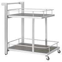 Shore Modern Silver Gray Wood Aluminum Outdoor Patio Beverage Cart