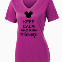 Keep Calm and Run Disney Ladies  V-Neck Competitor Tee