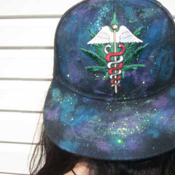 Galaxy Space Cosmical Nebula Medical Marijuana Hand Painted Snapback Hat