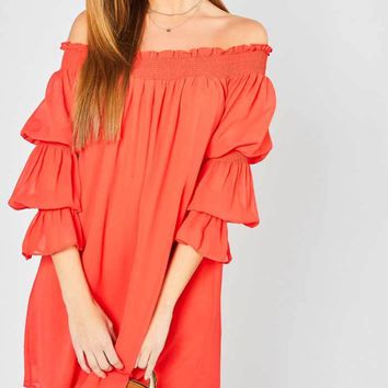 Red Tiered Sleeve Dress