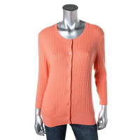 Colour Works Womens Cashmere Blend Cable Knit Cardigan Sweater
