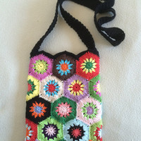 ON SALE - 10% OFF Crochet Granny Square.bag..  Handmade art purse...photo prop.pouch..