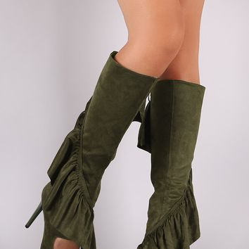 Suede Ruffle Pointy Toe Cutout Knee High Boots