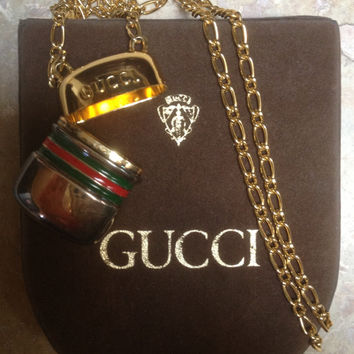 AUTHENTIC Vintage GUCCI Capsule Pendant & Necklace W/ Original Box