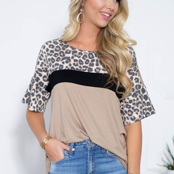 Vanessa Leopard Block Top