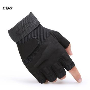CQB Outdoor Sports Tactical Military Half-finger Fighting Gloves for Training Hiking Riding Cycling Mens Mittens