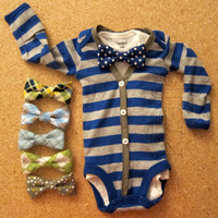 Baby Boy Blue/Gray Stripe with Dark Grey Cardigan Outfit with Your Choice of 1 Removable Bow Tie