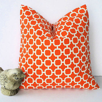 "Mandarin LATTICE pillow ONE indoor outdoor 18"" Modern orange decorator pillow 18x18 inches"