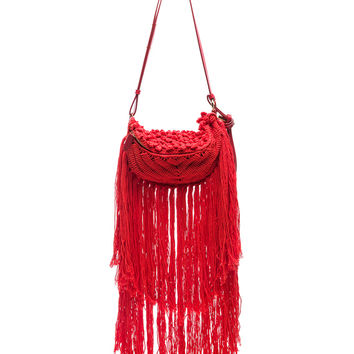Stella McCartney Small Macrame Hip Bag in Red | FWRD