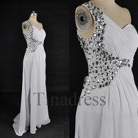Custom White Crystals Beaded Long Prom Dresses Bridesmaid Dresses 2014 Fashion Party Dresses Evening Gowns Evening Dresses Formal Wear
