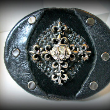 Sterling silver belt buckle,fleur de liz buckle,real leather buckle,black real pony hair, gothic belt buckle,belt buckle,punk buckle