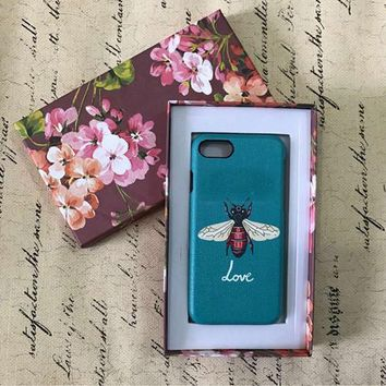 2017 Italy Luxury Fashion Famous Brand Leather phone case For Iphone 7Plus 7 6Plus 6S Lovely Red Snake bee Flowers phone case-171204
