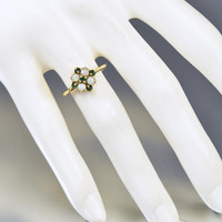 English Gold Emerald Opal Engagement Ring Victorian Revival