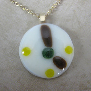 Fused Glass Necklace, Round, Clock, Cream, Gift under 20 - Quality Time  by mysassyglass