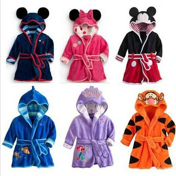 New cute girls boys Bathrobes cartoon Mermaid clothing cosplay tiger children clothing kids clothes Mickey Pajamas sets casual