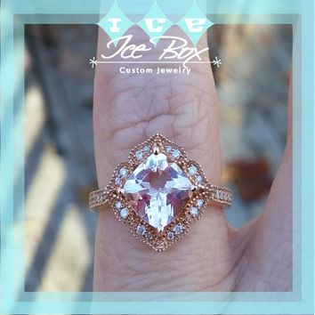 Quick Ship Morganite Engagement Ring - 6.5mm, 1.2ct Cushion Cut Morganite in 14k Rose Gold Diamond Halo Setting