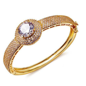 French Designer Cubic Zircon Deluxe Women Big Stone Bangles, Lead Free 18K Real Gold and Platinum Plated Bohemian Jewelry,Available  5 Color
