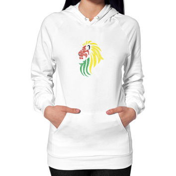 Lion Reggae Music Flag Colors Hoodie (on woman)