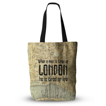 "Alison Coxon ""London Type"" Map Everything Tote Bag"