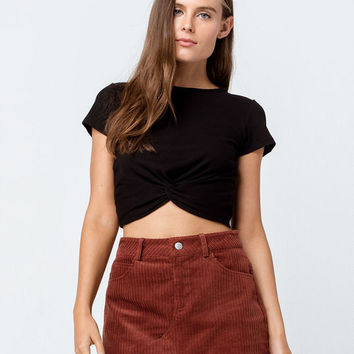 BOZZOLO Twist Front Black Womens Crop Tee
