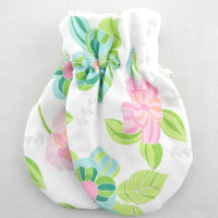 Organic Baby Mittens, Stained glass floral