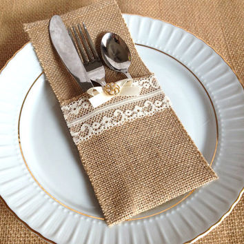 10 burlap and lace rustic silverware holder wedding bridal shower tea party table