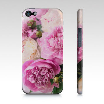 iPhone Case, iPhone 4/4S and 5, Samsung Galaxy S3 and S4, Pink White Peonies, Romantic Flowers, Photography, Summer, Gift for Her, CIJ