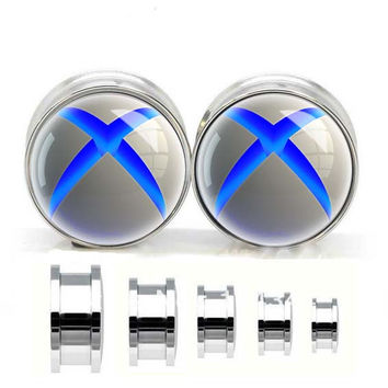XBOX 360 logo ear plugs ,Screw Body Piercing Jewelry ,Stainless steel ear plugs,tapers and plugs,
