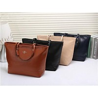 COACH Women Shopping Bag Leather Tote Handbag Satchel  Bag