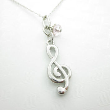 Treble Clef Necklace, G Clef Necklace, Music Necklace, Silver G Clef, Musician, Music Teacher, Music Lover Necklace, Music Symbol Charm X040