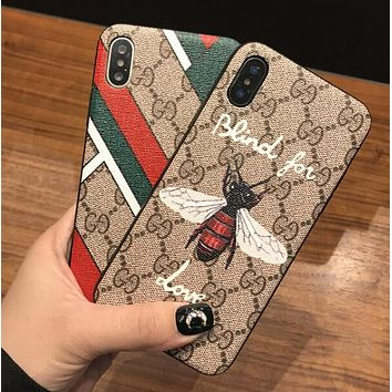 GUCCI Hot Popular Stripe Bee Mobile Phone Cover Case For iphone 6 6s 6plus 6s-plus 7 7plus 8 8plus X XSMax XR