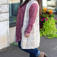 Fall Frays Sweater Vest in Oatmeal {Curvy}