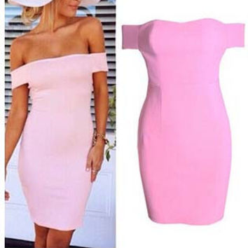 Pink Off Shoulder Bodycon Midi Dress