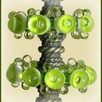 Lampwork Grass Green Glass Beads, Handmade Bubble Glass Beads Disc Set (6)