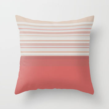 Coral White Beige Stripes Throw Pillow by Sheila Wenzel