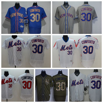 Retro Baseball 30 Michael Conforto Jersey With 2015 World Series Patch New York Mets Jerseys Cool Base White Pinstripe Grey Camo Blue Orange