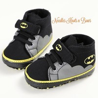 Baby Boys Batman Shoes, Boys Batman Crib Shoes, Pre Walkers, Batman Birthday Shoes