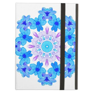 Flower Mandala Violet Blue Watercolor Floral Art Case For iPad Air