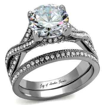 A Perfect Antique 3CT Solitaire Round Cut Russian Lab Diamond Ring Bridal Set Infinity Band
