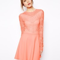 ASOS Scallop Lace Patch Skater Dress - Pink