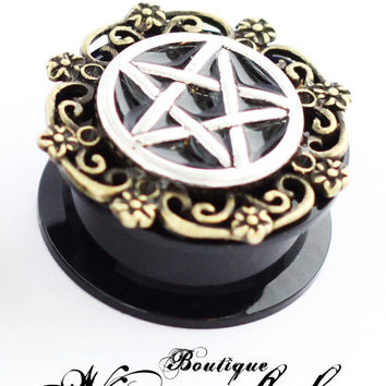 Pentagram silver-bronze threaded plugs earring