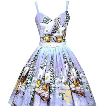 Bernie Dexter Georgia Dress in Winter Wonderland Print Retro 50''s Inspired