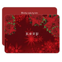 Beautiful Christmas Red, Snowflakes, RSVP Card
